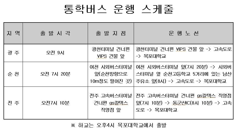 2016년 정보보호영재교육원 통학버스 안내