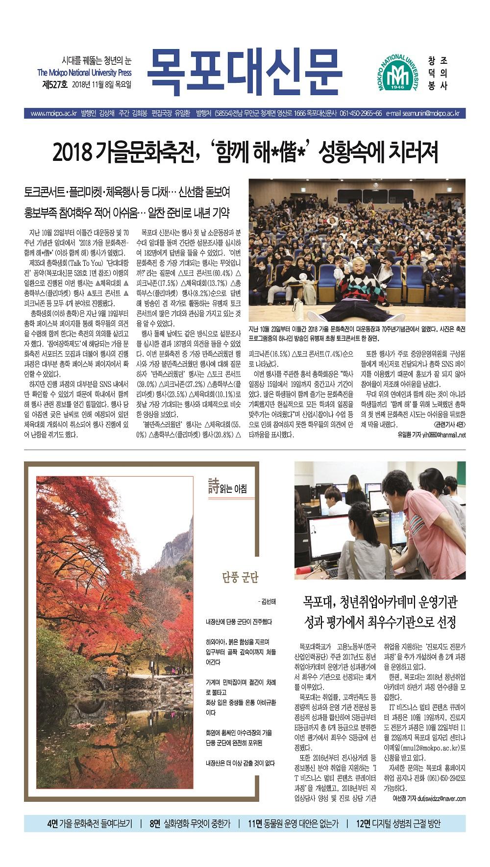 2018년도 목포대신문 527호